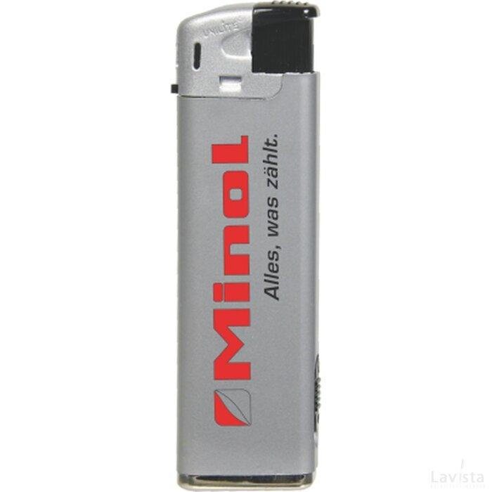 Elektronische aansteker met LED, zilver, navulbaar