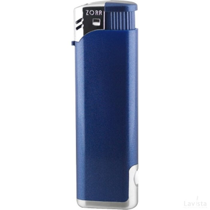 Aansteker Zorr Piezo LED blauw metallic
