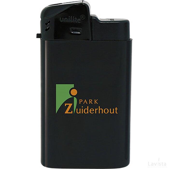 Brede elektronische aansteker HC, navulbaar DIGITAAL tot full colour zwart