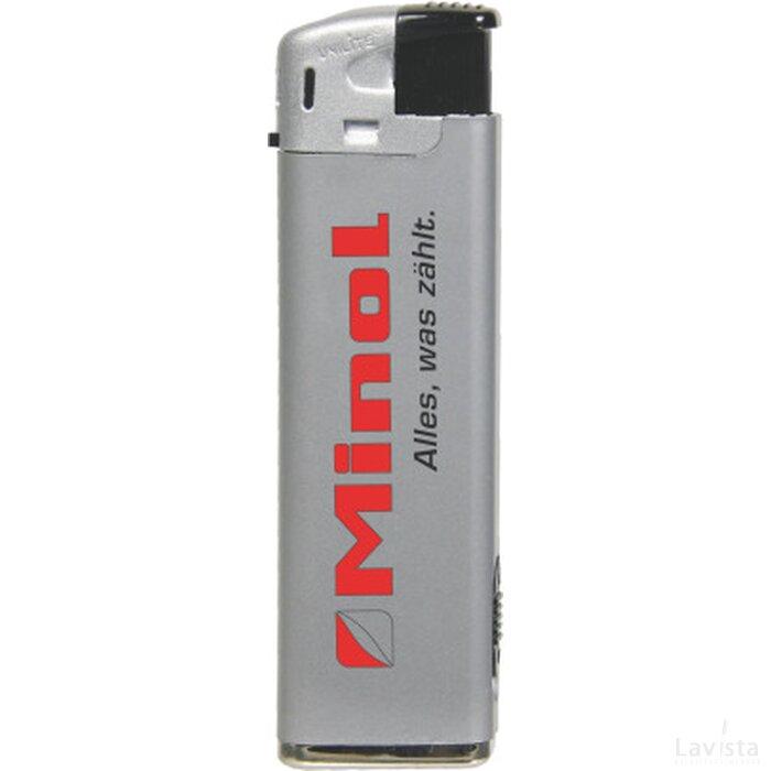 Elektronische aansteker met LED, zilver, navulbaar zilver