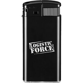Slanke elektronische aansteker HC, navulbaar DIGITAAL tot full colour zwart/zwart