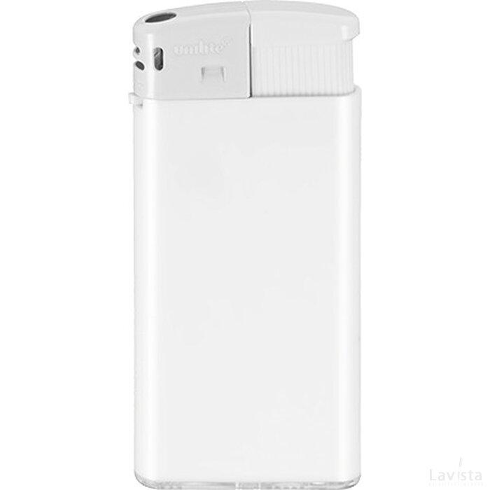 Slanke elektronische aansteker HC, navulbaar DIGITAAL tot full colour wit/wit